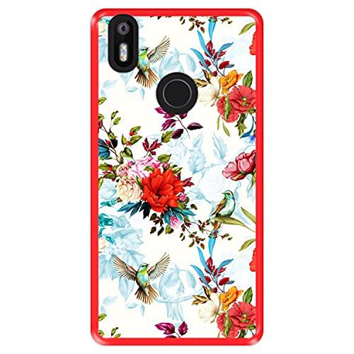 Hapdey Funda Roja para [ Bq Aquaris X - X Pro ] diseño [ Patrón Floral con pájaros ] Carcasa Silicona Flexible TPU