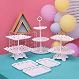 Set of 6 Party Cake Stand Includes 3 Tier 2 Tiers Square/Heart/Round Cupcake Holder with 3pcs Rectangle Plastic Serving Trays for Party Wedding Home Decor
