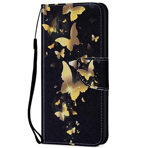 Kompatibel für iPhone 6/6S Hülle Ledertasche Flip Case,QPOLLY Premium PU Leder Gemalt Muster Klapp Schutzhülle im Bookstyle mit Kredit Karten Fach Magnet Handy Hülle Tasche,Goldener Schmetterling