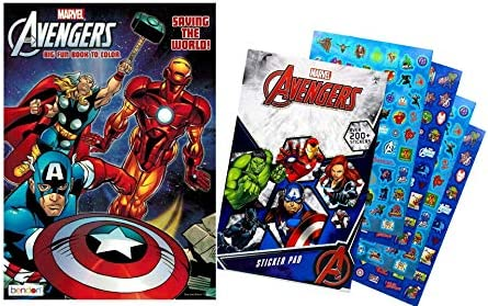 2325687 Avengers 80 Page Coloring Book Marvel Avengers Hero Sticker Book Over 200 Perfect for product image