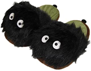 EASTVAPS Chaussures Dessin animé Hayao Miyazaki Charbon briquettes Pantoufles en Peluche Totoro Anime Pantoufles en Coton