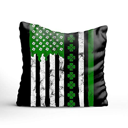 N\A Funda de cojín de Bandera Americana de línea Blanca Fina de línea Verde Funda de Almohada Decorativa Cuadrada de algodón