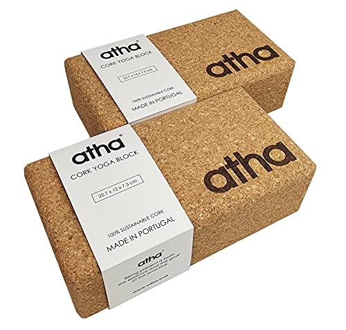 atha - 2 Bloques de Yoga y Pilates, Corcho Natural Ecológico de Alta Densidad, Fabricado en Portugal (2 Unidades)