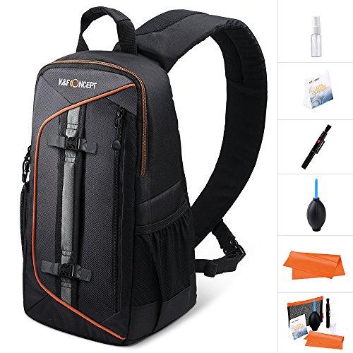 K&F Concept Kamerarucksack Kamera Sling Rucksack Fotorucksack Kameratasche mit Reinigungsset für Canon Nikon DSLR Kamera 23 * 14 * 37cm, Schwarz