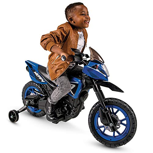 Huffy 6V Kids Electric Battery-Powered Ride-On Motorcycle Bike Toy w/Training Wheels, Engine Sounds, Charger - Blue, 17048P