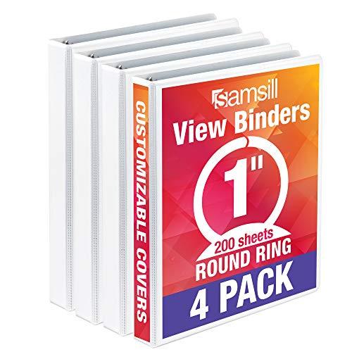 Samsill Economy 3 Ring Binder Organizer, 1 Inch Round Ring Binder, Customizable Clear View Cover, White Bulk Binder 4 Pack (48537)