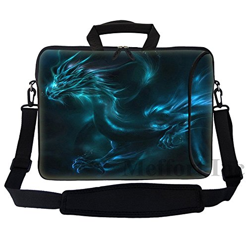 Meffort Inc 17 17.3 inch Neoprene Laptop Bag Sleeve with Extra Side Pocket, Soft Carrying Handle & Removable Shoulder Strap for 16' to 17.3' Size Notebook Computer - Blue Dragon Design