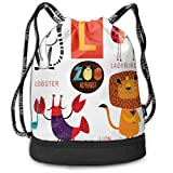 MLNHY Printed Drawstring Backpacks Bags,Zoo Alphabet In L Letter with Lobster Lion Ladybird Lemur Humor School My Name,Adjustable String Closure
