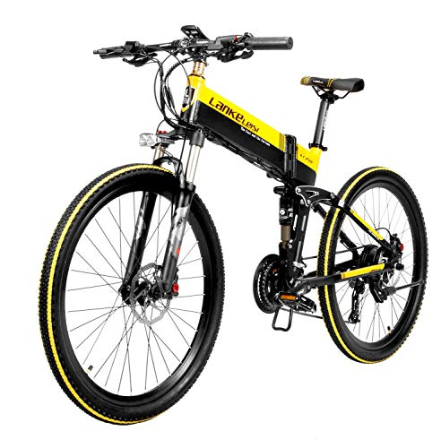 JISHIYU-S Bicicleta galvánica plegable de 26 pulgadas, batería de litio oculta, bicicleta de asistencia de pedal, pantalla LCD, vida útil del servicio, motor de 48V 400W, Forepart y Tooshie Disc freno