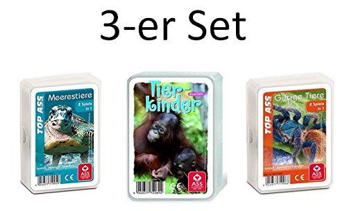 Ass Altenburger 3-er Set Quartettspiele Tierwelt bestehend aus 1. Top Ass Giftige Tiere - 2. Top Ass Meerestiere - 3. Top Ass Tierkinder (Tier Kinder)