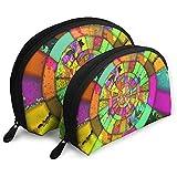 Color Abstract Circle Circle Center Bolsas portátiles Bolsa de Maquillaje Bolsa de Aseo Bolsas de Viaje portátiles multifunción con Cremallera
