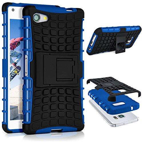 OneFlow® Outdoor Back-Cover aus Silikon + Kunststoff [Double-Layer] passend für Sony Xperia Z5 Compact   Extrem beständiger 360° Schutz, Blau