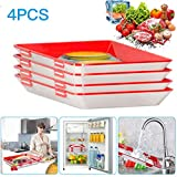OFOCASE Creative Food Preservation Tray, Healthy Food Preservation Tray with Elastic Lids, Fresh Tray Storage Container Set Reusable and Dishwasher for Long Food Freshness Preservation (4 Pieces)