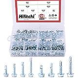 Hilitchi 220-Pieces Zinc Plated Hex Washer Head Self Drilling Sheet Metal Tek Screws Assor...