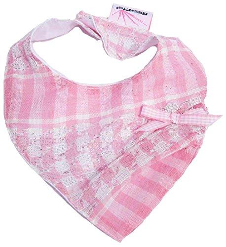 Farbgewitter - Baby Mädchen Palituch Halstuch Sabbertuch LILLY mit Schleife rosa-kariert (35x14 cm)