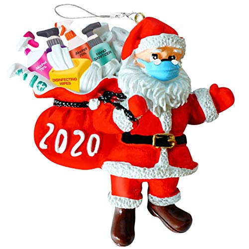 DAOKEY 2020 Christmas Ornaments, Santa Claus Decoration with Toilet Paper Roll Survivor Accessories, Personalized Decorating Gifts Hanging Pendant for Xmas Tree, Silver String