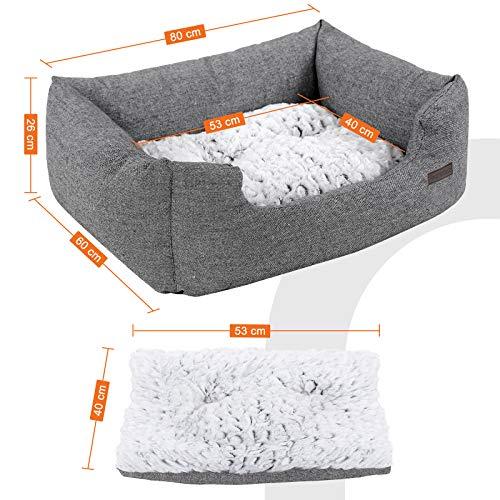 SONGMICS Hundebetten innenkissen Beidseitig Verwendbar mit unten einen Anti-Rutschboden M Außenmaße :80 x 60 x 26 cm PGW26G - 5