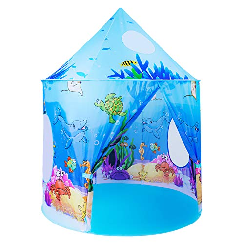 Wevon Kids Play Tent, Large Pop Up Playhouse Tent, Ocean Themed Pretend Play Tent for Boys and Girls with Storage Carry Bag