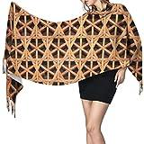 AOOEDM Bufanda de cachemira con estampado de cuadrícula tejida de mimbre, bufanda grande, suave y cálida, con borlas, bufandas, 77 'x 27'