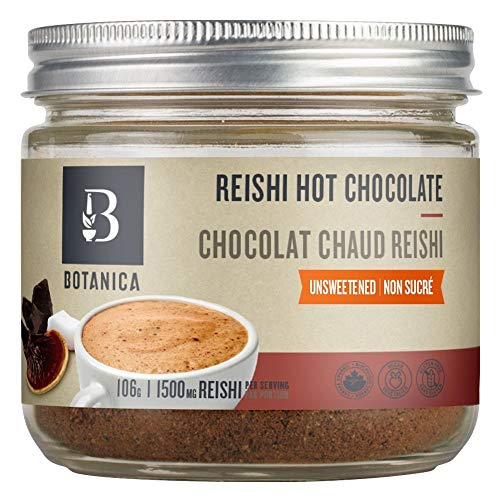 Botanica Organic Reishi Hot Chocolate Powder with Reishi Mushroom, Dates and Coconut - Unsweetened (15 Servings, 106g) - Vegan, Gluten-Free, Dairy-Free, and Sugar-Free