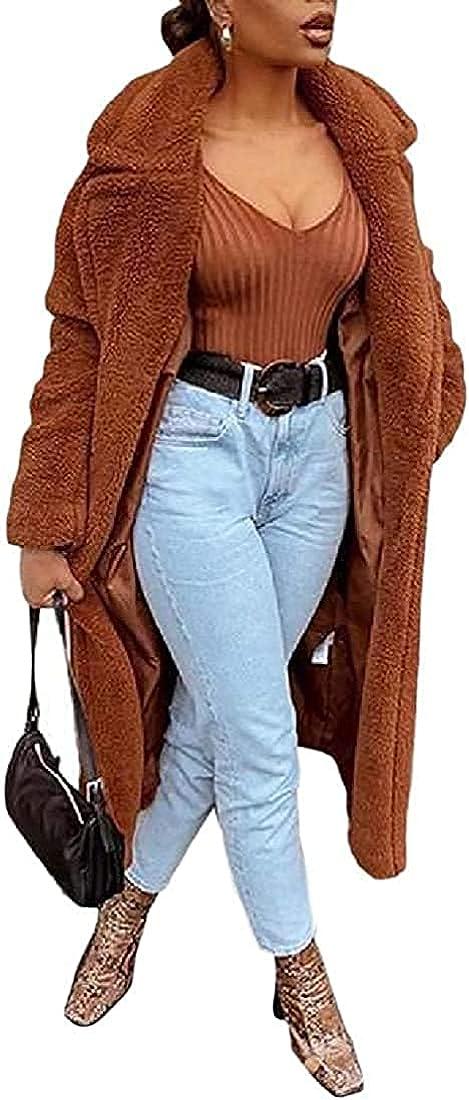 Women's Fluffy Outwear Fuzzy Loose Oversized Mid-Long Pea Coats