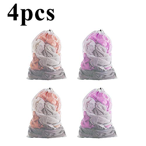 YuamMei 4 Packs Mesh-Wäschesack, schwere Hängekordelzug, Anti-Deformations-großer Waschsack für Waschmaschine, Reisen, Apartment (weiß, 24x36 Zoll)