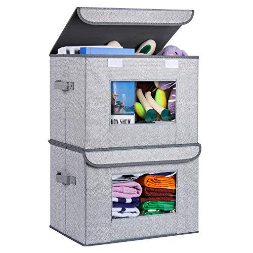 Univivi Larger Storage Cubes [2-Pack] Foldable Storage Box with Lid, Collapsible Storage Bin Organizer Basket with Sturdy Handles for Home, Nursery, Closet (16.92 x 11.8 x 11.81