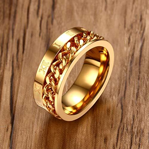 ERDING - Pequeño precio/joyería/elegante anillo de cadena con cordón giratorio para hombre 8 mm de acero inoxidable con números romanos anillo punk hombre hermano, Gold Color, 11