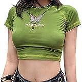 Whitzard Camiseta de manga corta para mujer con diseño de dibujos animados bordados, informal, cuello redondo, elegante vestido de verano Mariposa verde. S