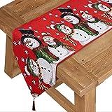 COSYLAND Weihnachten Tischläufer mit Quaste Rot Esstischläufer Tischdecke Esstisch Läufer Weihnachtsschmuck Tischdekoration Esszimmer Küche Dekoration Schneemann 35 x180 cm
