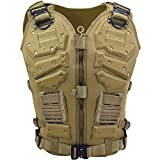 Upgrade Tactical Vest for Men with 2pcs 5.56 Fast Mag Pouch Adjustable Airsoft Paintball Vest Combat Vest Tactical Molle Vest CS Shooting Wargame Outdoor Training (Tan)