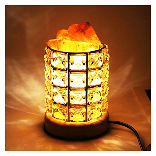 PULLEY Lámpara de sal del Himalaya con cristales de sal originales con interruptor de intensidad para el hogar, la oficina o la mesita de noche incluye bombilla