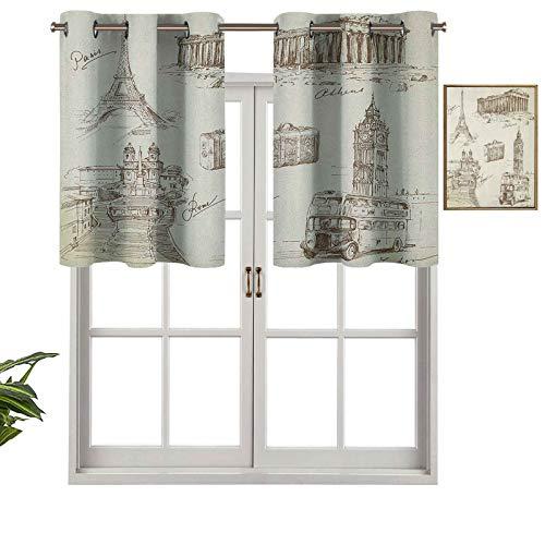 Cenefas de cortina opacas con aislamiento térmico y ojales cortos, colección de arte de viajes sobre monumentos europeos y maleta de estilo vintage, juego de 2, 106,7 x 91,4 cm para cocina y baño