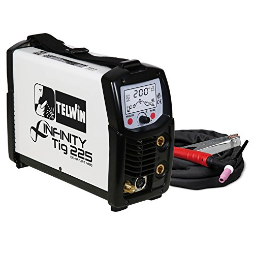 Telwin Infinity TIG 225 Pulse WIG-DC Schweißgerät HF/LIFT Zündung 5-200 A WIG/MMA Inverter, Set inkl. 4m ST26 WIG-Schlauchpaket, 3m Masseanschluss und Gasschlauch