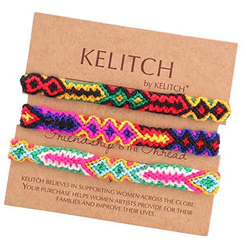 KELITCH 3 uds Parejas Color de Hilo de algodón, Boho Brazalete de la Amistad Hecho a Mano Pulseras Brazalete Arco Iris Colgante Pulseras