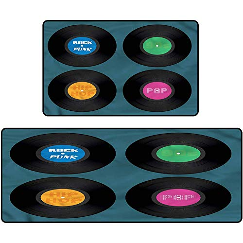 90s 2 Piece Non-Slip Kitchen Mat Music Vinyl Discs LP Rock Pop Throw Rug Carpet Mat Runner for Entryway Kitchen Bedroom 17