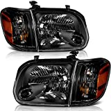 LSAILON For 2005 2006 Toyota Tundra 2007 Sequoia Headlights Assembly Replacement Amber Corner Headlamps Driver Passenger Side