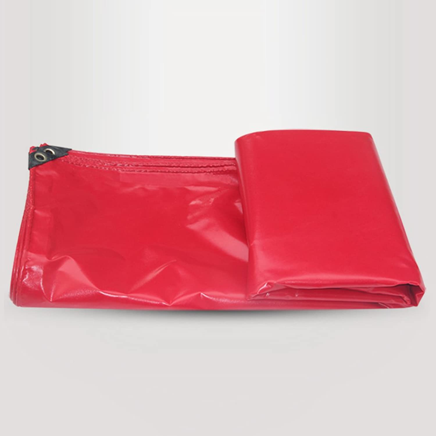 ZEMIN Tarpaulin Waterproof Sunscreen Tent Sheet Roof Windproof DoubleSided Thicken Polyester, Red, 450G M2, 10