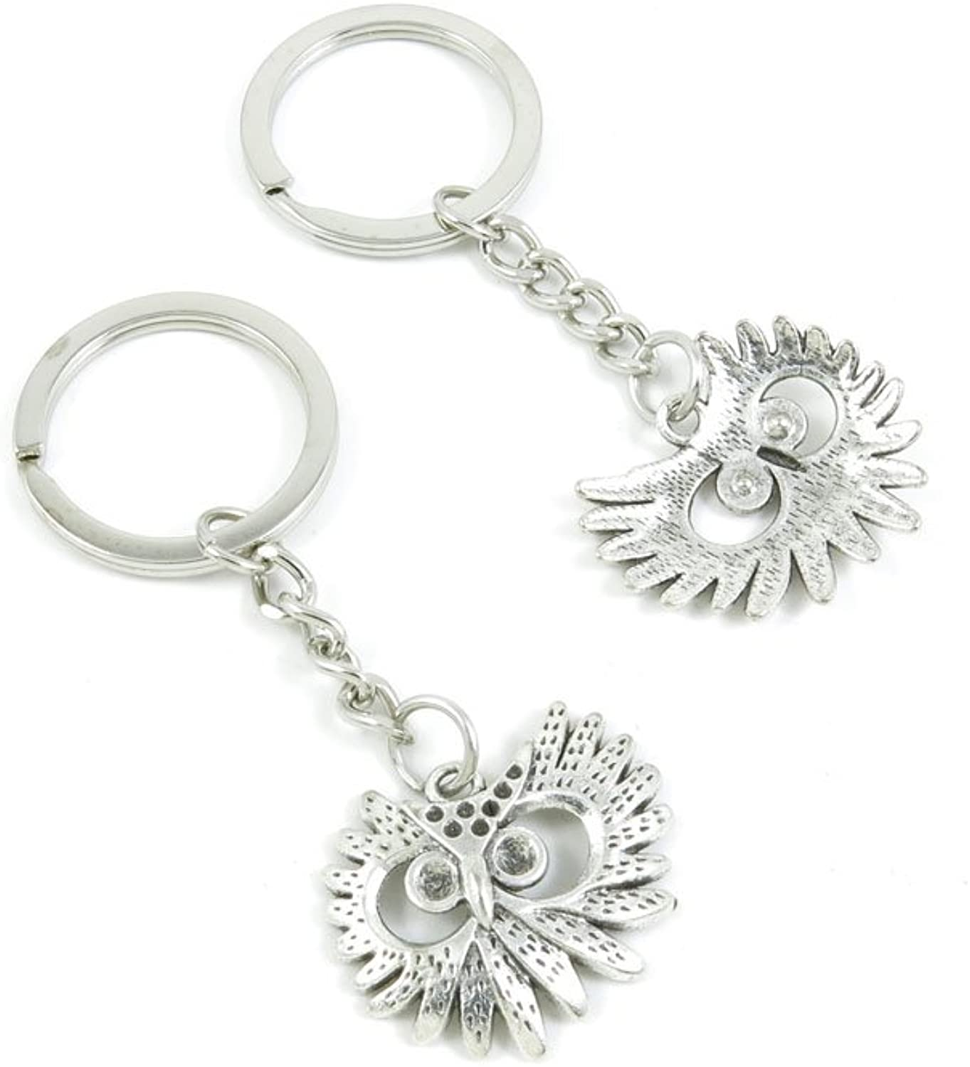 100 Pieces Keychain Keyring Door Car Key Chain Ring Tag Charms Bulk Supply Jewelry Making Clasp Findings B4NB5B Owl
