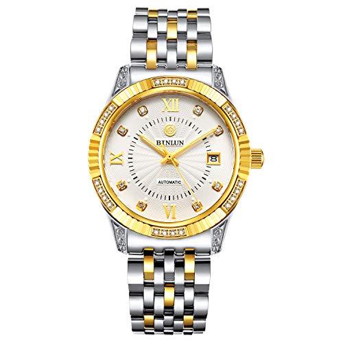 Binlun Herren-Armbanduhr, automatisch, mechanisch, luxuriös, 18 Karat vergoldet Geschenk zum Valentinstag