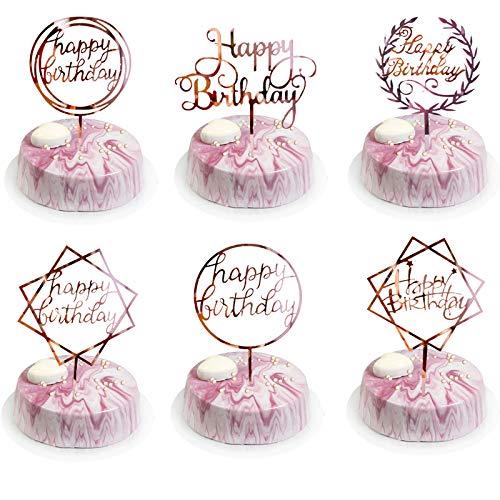 BOYATONG 6 Pcs Happy Birthday Kuchen Topper, Rosegold Geburtstag Cake Tortendeko, Kuchen Dekoration Glitter,Acryl Cupcake Topper Dekoration für Mädchen, Kinder, Geburtstag Party,Hochzeit(Rosé Gold)