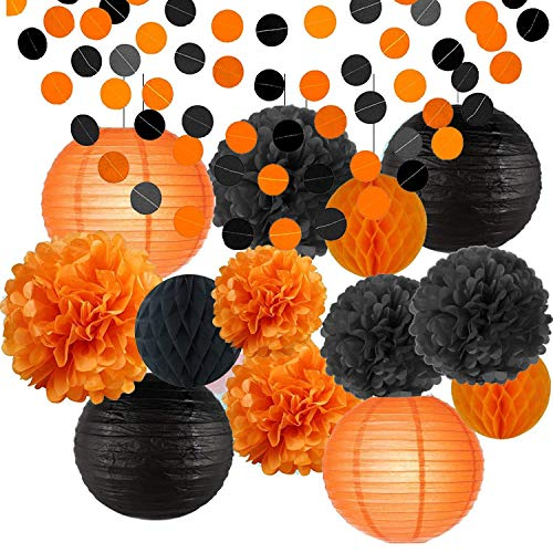 Erosion glücklich Halloween Party Dekorationen Kit Papier Laternen Seidenpapier Pom Poms Schwarz Orange Kinder Schwarz und Orange Papier Garland Thema Halloween Serie Halloween Dekoration Papier Blume