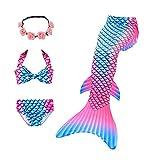 MZSYLK Traje de baño de cola de sirena para niños, traje de baño de 3 piezas - - 3-4 años