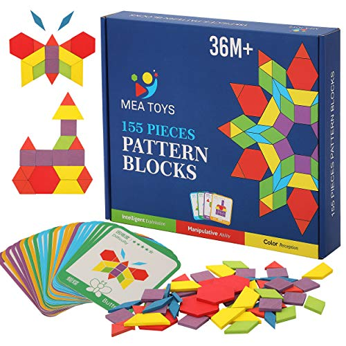 MEA TOYS 155 Pcs Wooden Pattern Blocks with 24 Design Cards – 3 to 8 Years Kids Toys, Thick Multicolored Tangrams - Geometric Shape Puzzles for Kindergarten Kids Learning