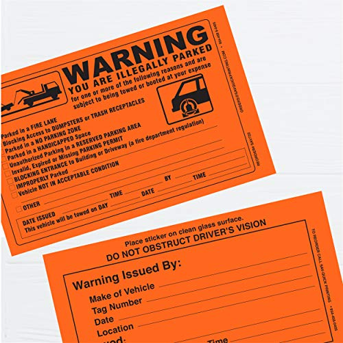 Parking Violation Sticker - Vehicle Illegally Parked Tow Notice - Parking Violation Notice - No Parking Warning Stickers - 5.5 x 7.5 Hard to Remove Stickers - Pack of 50 (Orange) Photo #5