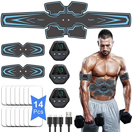 fayleer Electroestimulador Muscular Abdominales, EMS Estimulación Muscular Masajeador Eléctrico Cinturón con Pantalla LCD, USB Recargable, para Abdomen/Cintura/Pierna/Brazo