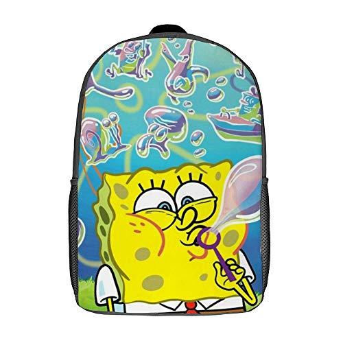 Spongebob Blasenblasen-Rucksack Schulranzen Reisetasche Business-Tagesrucksack für Männer Frauen Teenager Schule College 17 Zoll