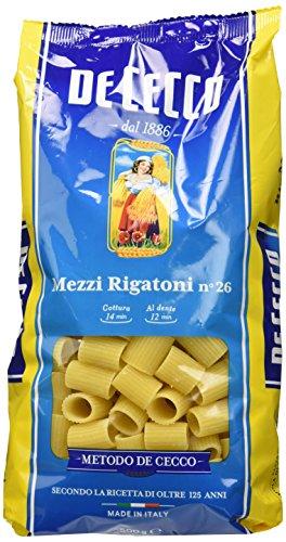 De Cecco - Mezzi rigatoni, Pasta di Semola di Grano Duro - 6 pezzi da 500 g [3 kg]