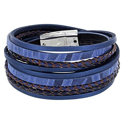 StarAppeal Armband Wickelarmband mit Flechtelement, Magnetverschluss Silber, Damen Armband (Blau)