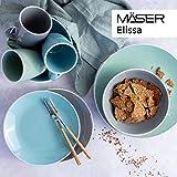 MÄSER 931770 Serie Elissa Modernes Geschirr Set für 6 Personen in Türkis mit weißem Rand, 24-teiliges Kombiservice, Steinzeug - 7